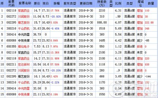 2016年牛散何雪萍最新持股一览
