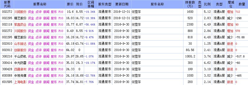 2017年牛散何雪萍最新持股一览表