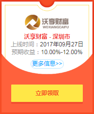 P2P投资福利:沃享财富投5000月赚159元